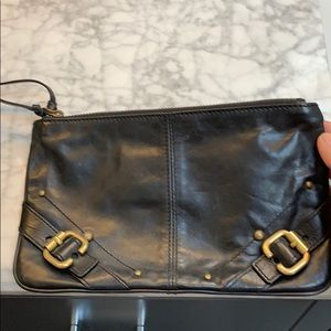 Black leather Club Monaco clutch